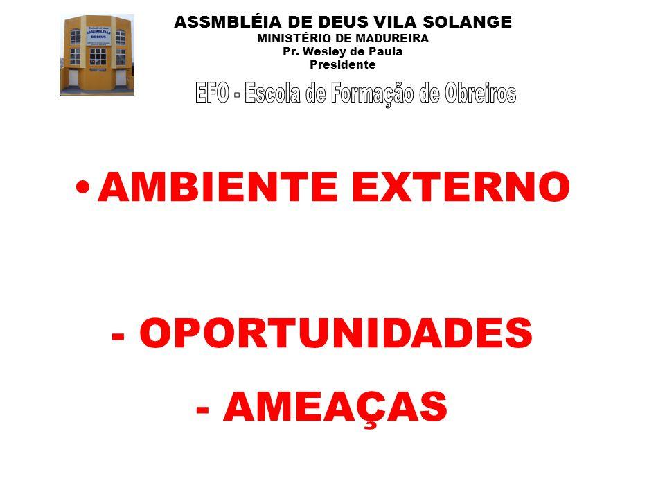 ASSMBLÉIA DE DEUS VILA SOLANGE MINISTÉRIO DE MADUREIRA Pr. Wesley de Paula Presidente AMBIENTE EXTERNO - OPORTUNIDADES - AMEAÇAS