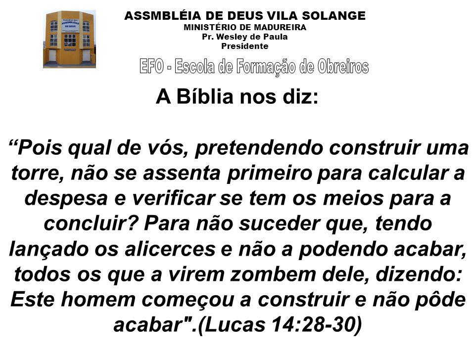 ASSMBLÉIA DE DEUS VILA SOLANGE MINISTÉRIO DE MADUREIRA Pr. Wesley de Paula Presidente A Bíblia nos diz: Pois qual de vós, pretendendo construir uma to
