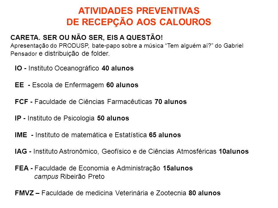 ATIVIDADES PREVENTIVAS DE RECEPÇÃO AOS CALOUROS CARETA.