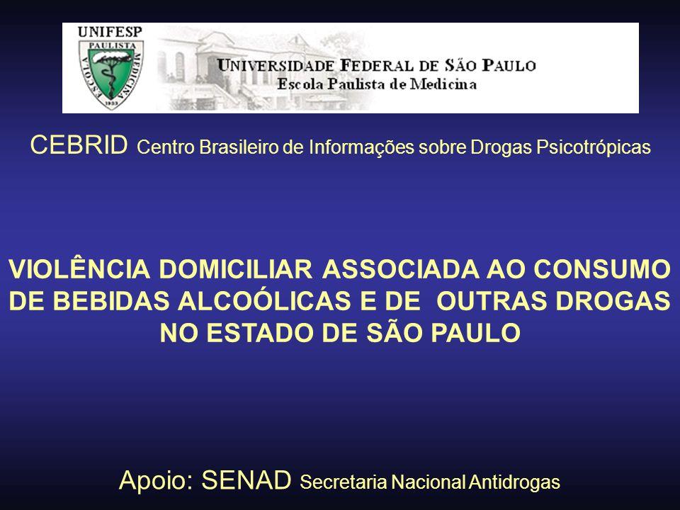 VIOLÊNCIA DOMICILIAR ASSOCIADA AO CONSUMO DE BEBIDAS ALCOÓLICAS E DE OUTRAS DROGAS NO ESTADO DE SÃO PAULO CEBRID Centro Brasileiro de Informações sobr
