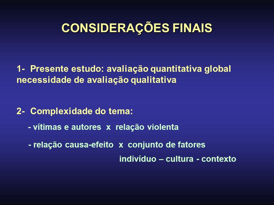CONSIDERAÇÕES FINAIS 1- Presente estudo: avaliação quantitativa global necessidade de avaliação qualitativa 2- Complexidade do tema: - vítimas e autor