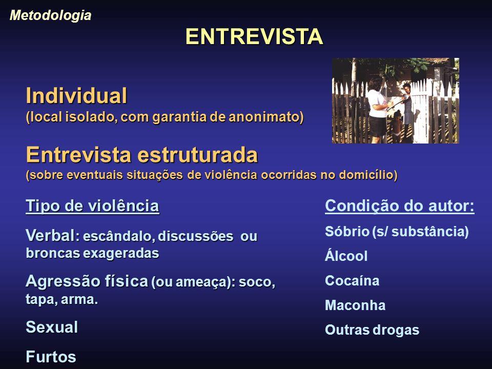 ENTREVISTA Metodologia Individual (local isolado, com garantia de anonimato) Entrevista estruturada (sobre eventuais situações de violência ocorridas