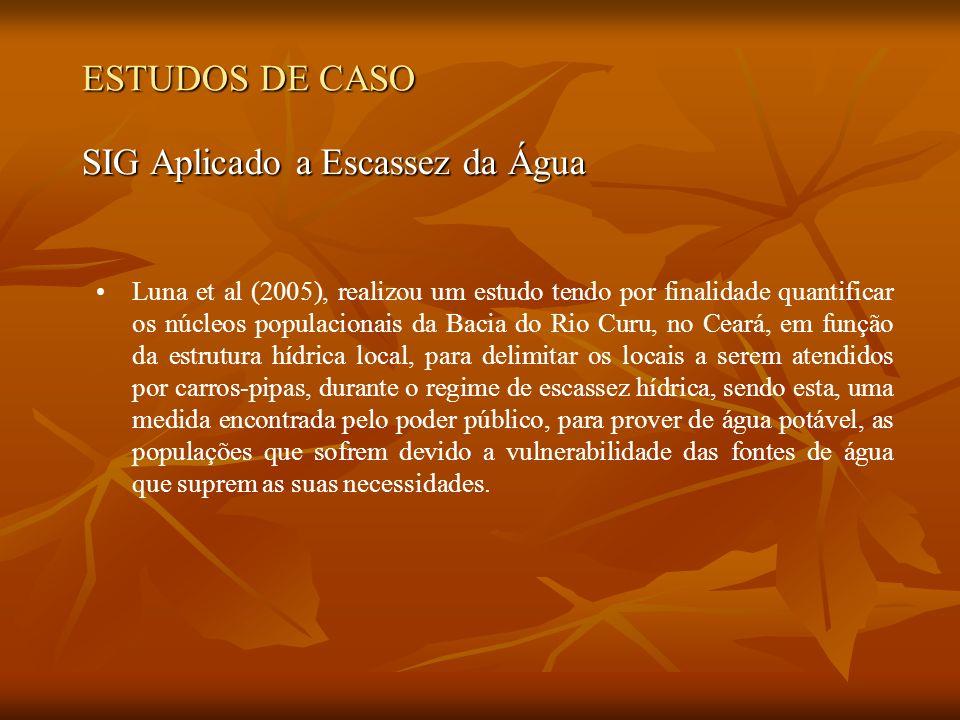 ESTUDOS DE CASO SIG Aplicado a Escassez da Água Luna et al (2005), realizou um estudo tendo por finalidade quantificar os núcleos populacionais da Bac