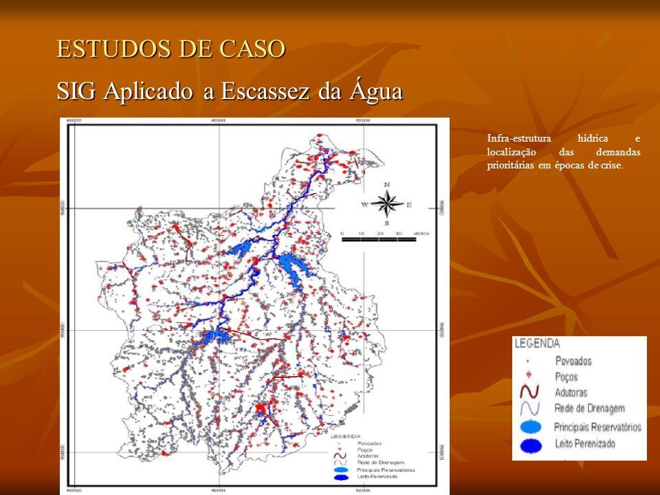 ESTUDOS DE CASO SIG Aplicado a Escassez da Água Infra-estrutura hídrica e localização das demandas prioritárias em épocas de crise.