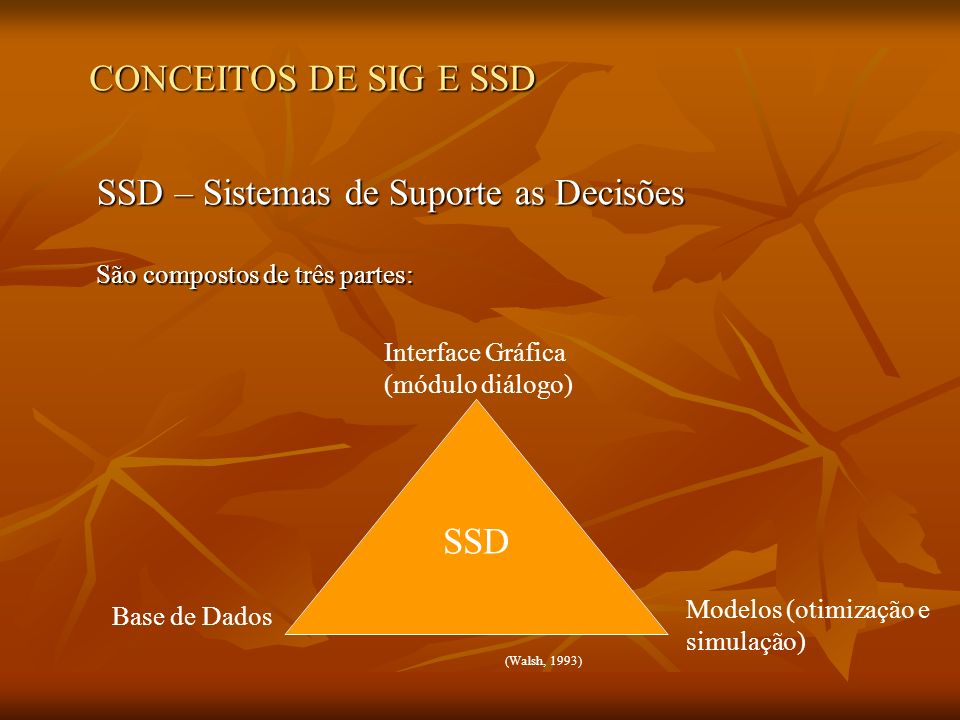 SSD – Sistemas de Suporte as Decisões São compostos de três partes: SSD Interface Gráfica (módulo diálogo) Base de Dados Modelos (otimização e simulaç