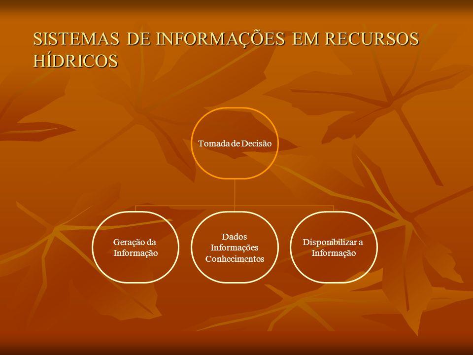 SISTEMAS DE INFORMAÇÕES EM RECURSOS HÍDRICOS Tomada de Decisão Geração da Informação Dados Informações Conhecimentos Disponibilizar a Informação