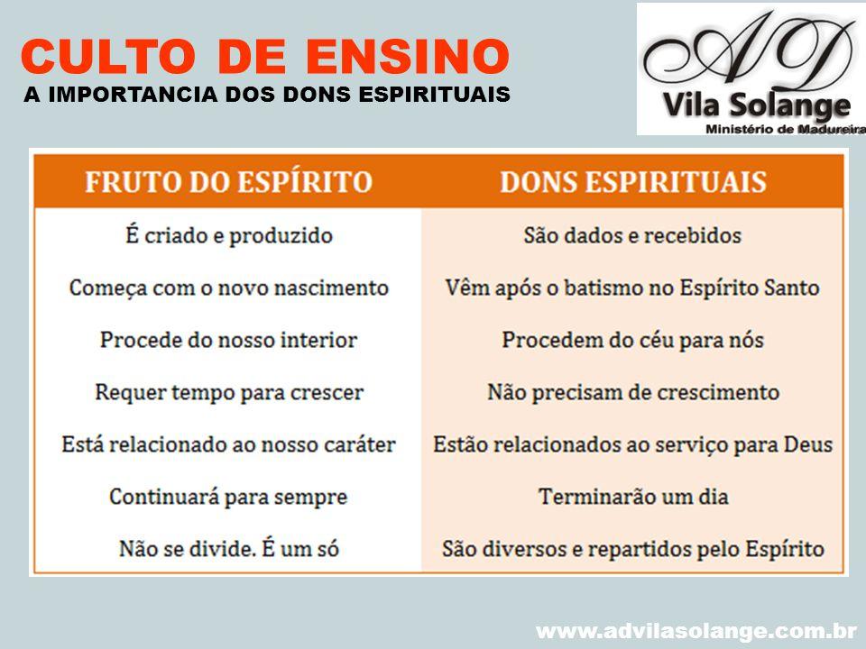 VILA SOLANGE www.advilasolange.com.br CULTO DE ENSINO A IMPORTANCIA DOS DONS ESPIRITUAIS