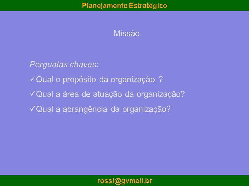 Planejamento Estratégico rossi@gvmail.br Perguntas chaves: Qual o propósito da organização ? Qual a área de atuação da organização? Qual a abrangência