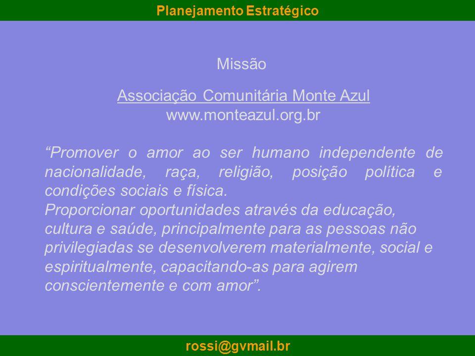 Planejamento Estratégico rossi@gvmail.br Associação Comunitária Monte Azul www.monteazul.org.br Promover o amor ao ser humano independente de nacional