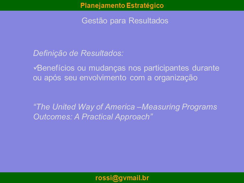 Planejamento Estratégico rossi@gvmail.br Definição de Resultados: Benefícios ou mudanças nos participantes durante ou após seu envolvimento com a orga