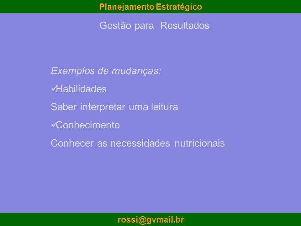 Planejamento Estratégico rossi@gvmail.br Exemplos de mudanças: Habilidades Saber interpretar uma leitura Conhecimento Conhecer as necessidades nutrici