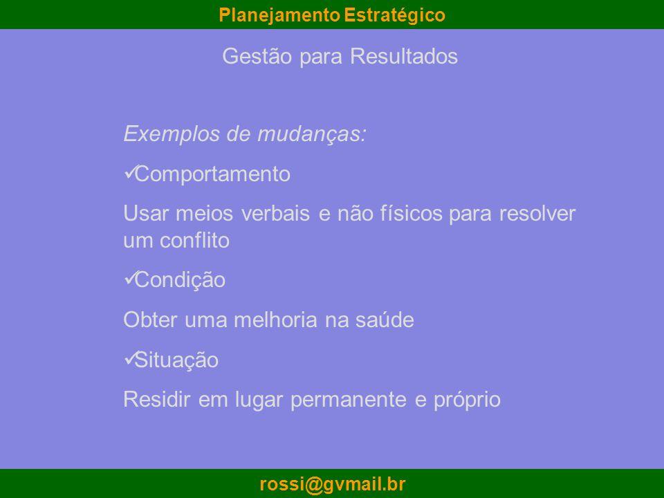 Planejamento Estratégico rossi@gvmail.br Exemplos de mudanças: Comportamento Usar meios verbais e não físicos para resolver um conflito Condição Obter
