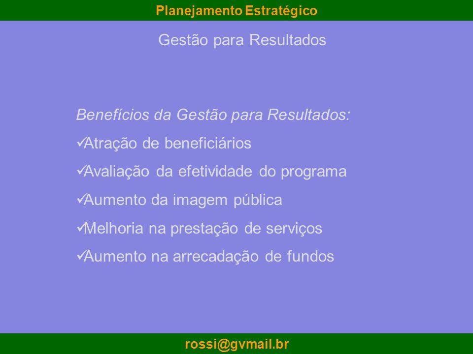 Planejamento Estratégico rossi@gvmail.br Gestão para Resultados Benefícios da Gestão para Resultados: Atração de beneficiários Avaliação da efetividad