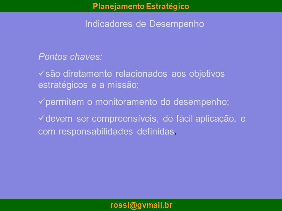Planejamento Estratégico rossi@gvmail.br Indicadores de Desempenho Pontos chaves: são diretamente relacionados aos objetivos estratégicos e a missão;