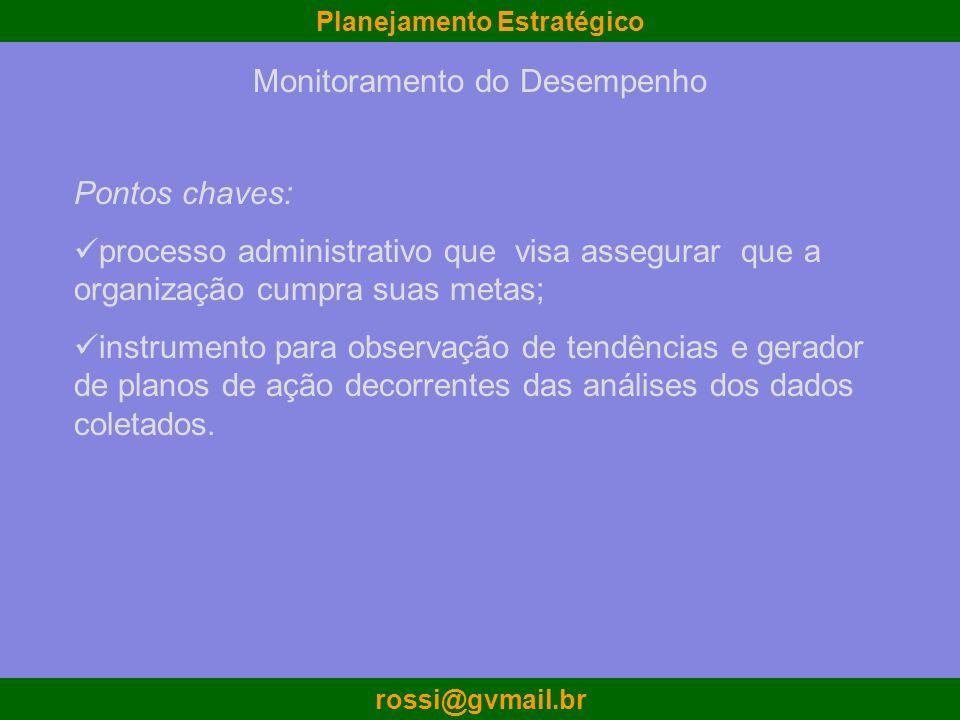 Planejamento Estratégico rossi@gvmail.br Monitoramento do Desempenho Pontos chaves: processo administrativo que visa assegurar que a organização cumpr