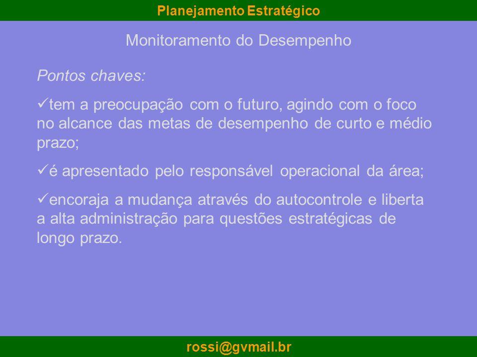 Planejamento Estratégico rossi@gvmail.br Monitoramento do Desempenho Pontos chaves: tem a preocupação com o futuro, agindo com o foco no alcance das m