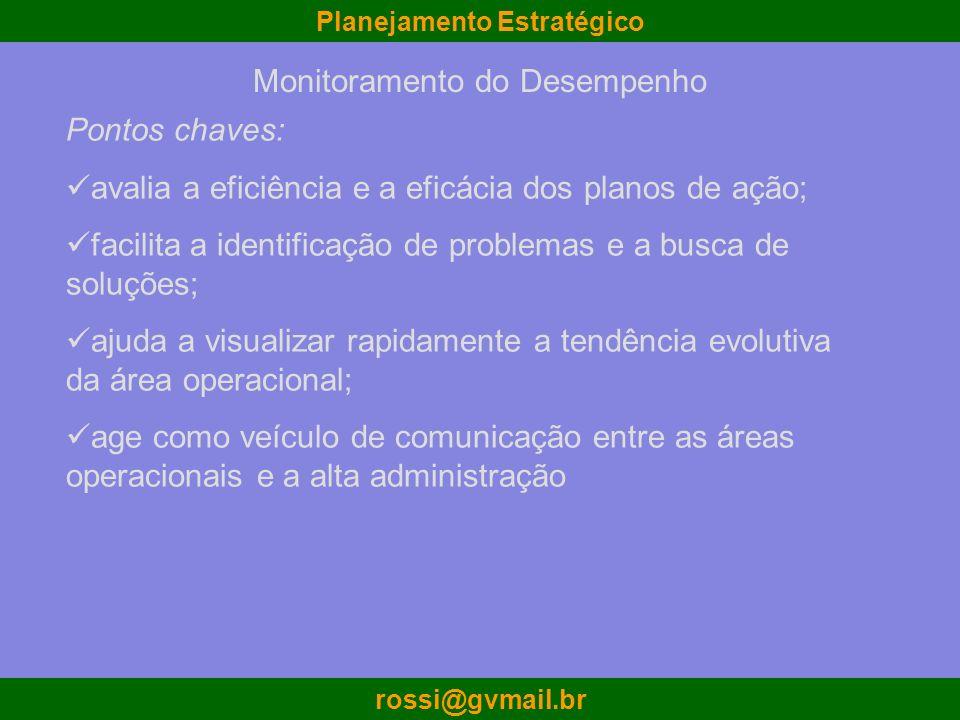 Planejamento Estratégico rossi@gvmail.br Pontos chaves: avalia a eficiência e a eficácia dos planos de ação; facilita a identificação de problemas e a