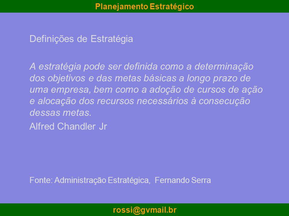 Planejamento Estratégico rossi@gvmail.br Definições de Estratégia A estratégia pode ser definida como a determinação dos objetivos e das metas básicas