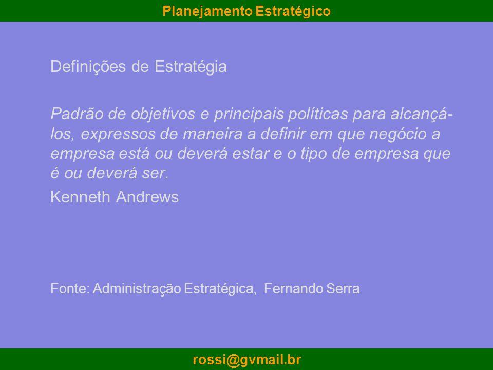 Planejamento Estratégico rossi@gvmail.br Definições de Estratégia Padrão de objetivos e principais políticas para alcançá- los, expressos de maneira a