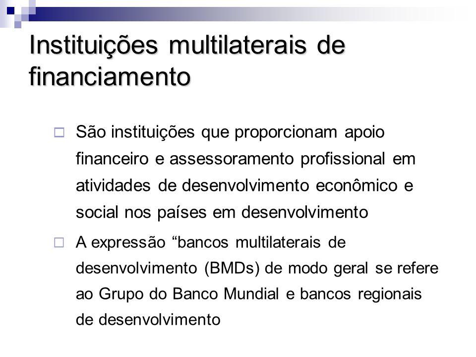Instituições multilaterais de financiamento Critérios e diretrizes para financiamento de grandes valores A Organização das Nações Unidas (ONU), o Banco Mundial e os bancos regionais de desenvolvimento: Fortalecimento Institucional Programas e Projetos