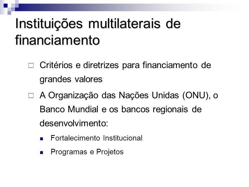 Agências financiadoras bilaterais Cooperação técnica internacional, intermediados pelos escritórios ou as agências de cada governo nos outros países.