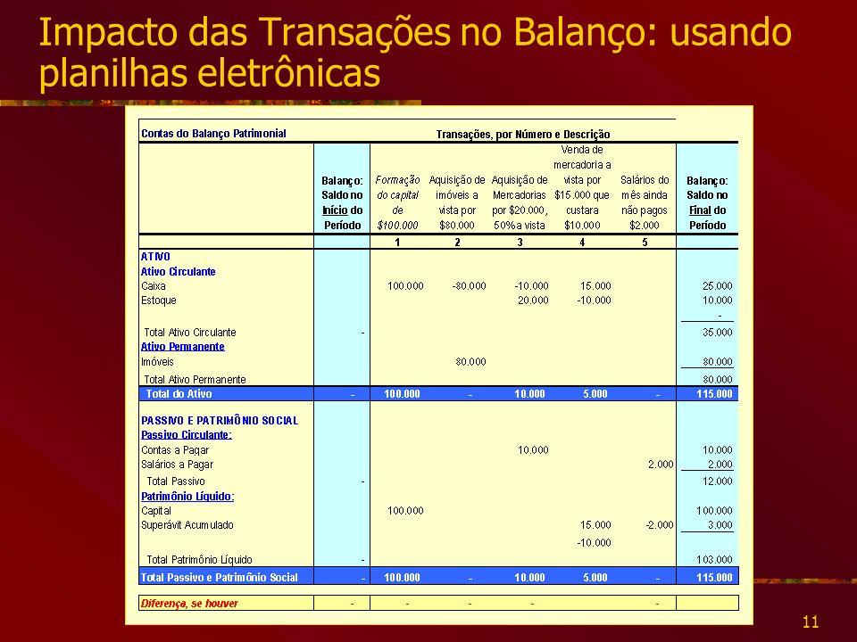 11 Impacto das Transações no Balanço: usando planilhas eletrônicas