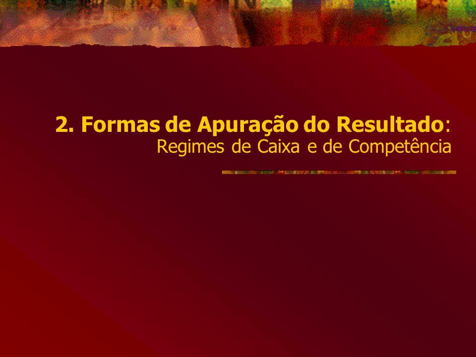 2. Formas de Apuração do Resultado: Regimes de Caixa e de Competência