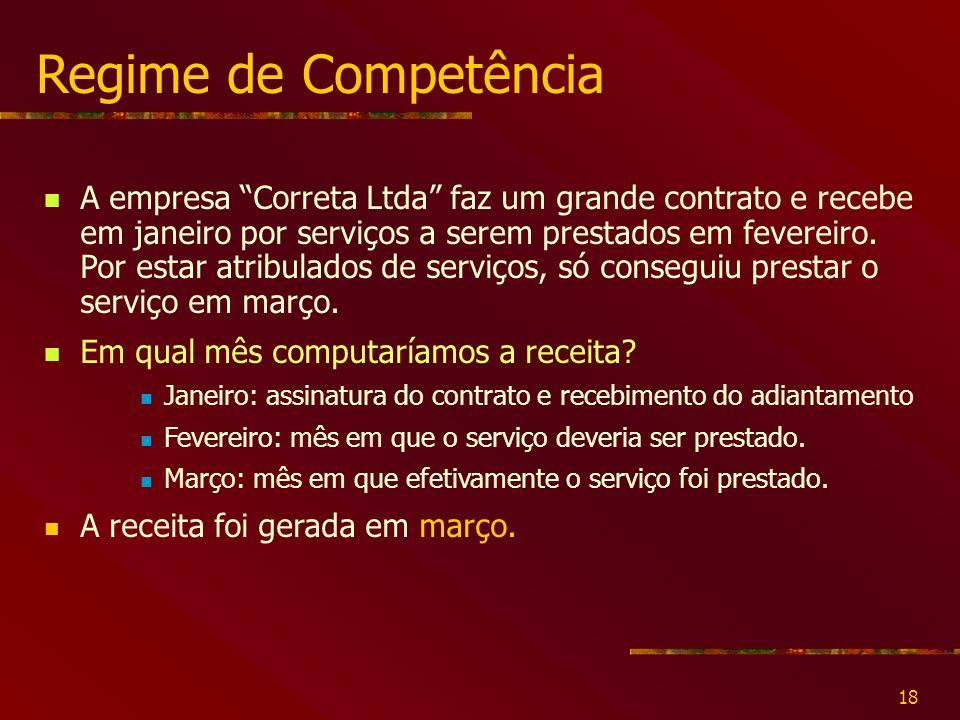 18 Regime de Competência A empresa Correta Ltda faz um grande contrato e recebe em janeiro por serviços a serem prestados em fevereiro.