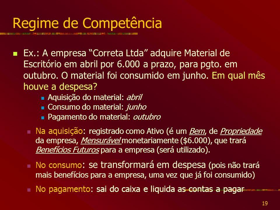 19 Regime de Competência Ex.: A empresa Correta Ltda adquire Material de Escritório em abril por 6.000 a prazo, para pgto.