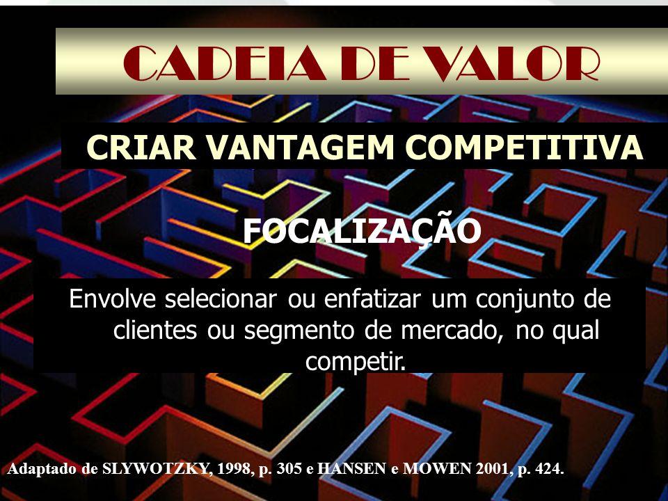 CADEIA DE VALOR CRIAR VANTAGEM COMPETITIVA Envolve selecionar ou enfatizar um conjunto de clientes ou segmento de mercado, no qual competir. Adaptado