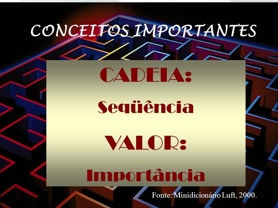 CADEIA: Seqüência VALOR: Importância CONCEITOS IMPORTANTES Fonte: Minidicionário Luft, 2000.