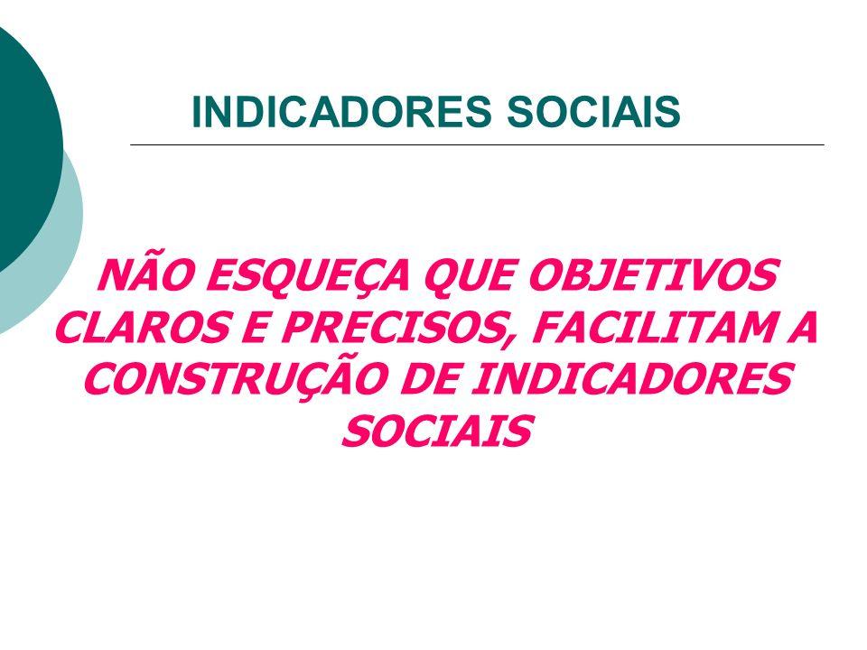 INDICADORES SOCIAIS QUALITATIVOS/INTANGÍVEIS: São análises feitas a partir da avaliação das pessoas, com diferentes enfoques da realidade. Ex: índice