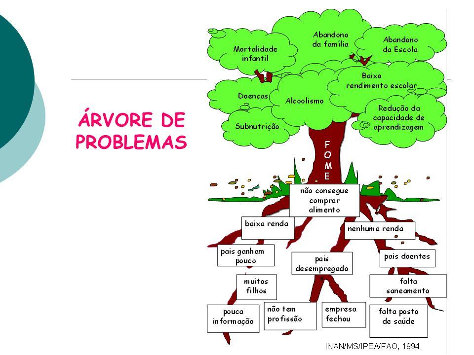 AUXILIANDO A DEFINIÇÃO DE CADA OBJETIVO E DEFININDO PROBLEMAS CENTRAIS DIAGRAMA DE CAUSA E EFEITO ÁRVORE DE PROBLEMAS