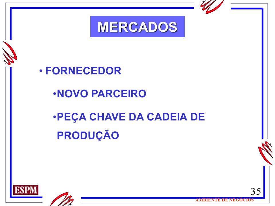 35 AMBIENTE DE NEGÓCIOS MERCADOS FORNECEDOR NOVO PARCEIRO PEÇA CHAVE DA CADEIA DE PRODUÇÃO