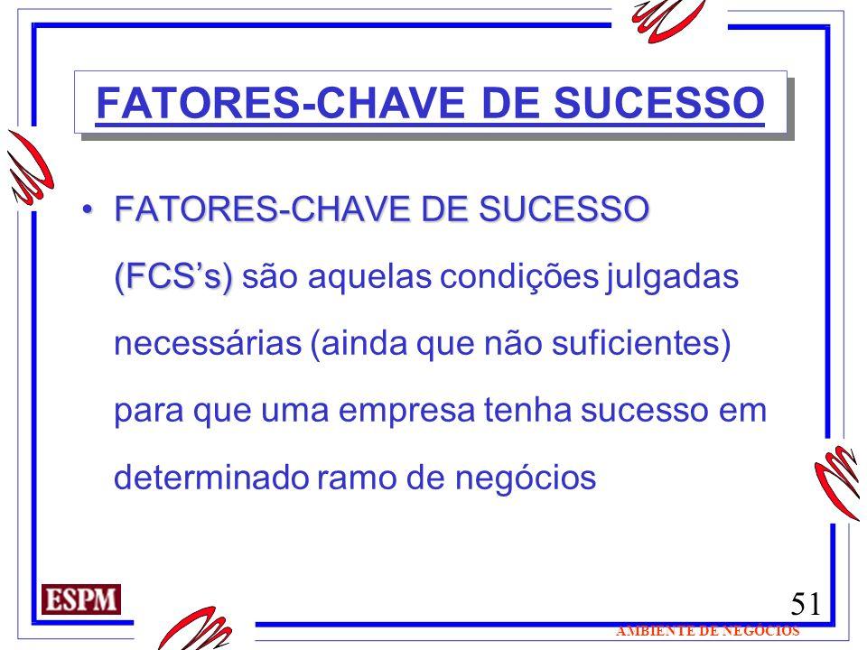 51 AMBIENTE DE NEGÓCIOS FATORES-CHAVE DE SUCESSO FATORES-CHAVE DE SUCESSO (FCSs)FATORES-CHAVE DE SUCESSO (FCSs) são aquelas condições julgadas necessá