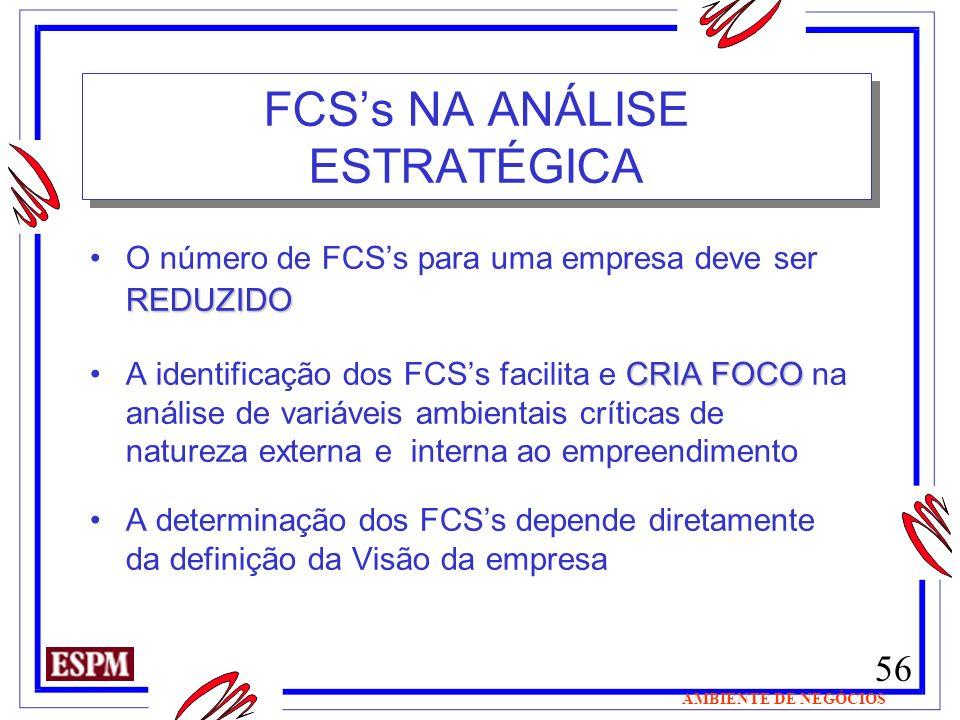 56 AMBIENTE DE NEGÓCIOS FCSs NA ANÁLISE ESTRATÉGICA REDUZIDOO número de FCSs para uma empresa deve ser REDUZIDO CRIA FOCOA identificação dos FCSs faci