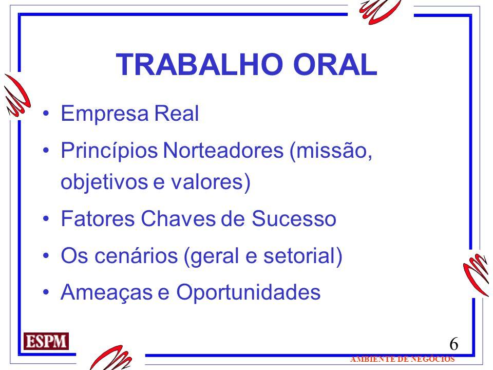 6 AMBIENTE DE NEGÓCIOS TRABALHO ORAL Empresa Real Princípios Norteadores (missão, objetivos e valores) Fatores Chaves de Sucesso Os cenários (geral e