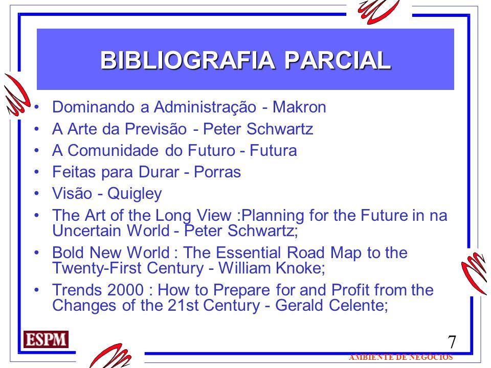 7 AMBIENTE DE NEGÓCIOS BIBLIOGRAFIA PARCIAL Dominando a Administração - Makron A Arte da Previsão - Peter Schwartz A Comunidade do Futuro - Futura Fei
