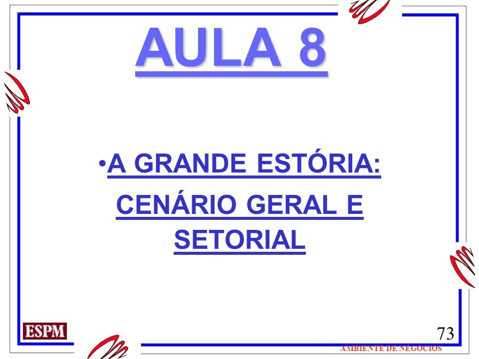 73 AMBIENTE DE NEGÓCIOS AULA 8 A GRANDE ESTÓRIA: CENÁRIO GERAL E SETORIAL