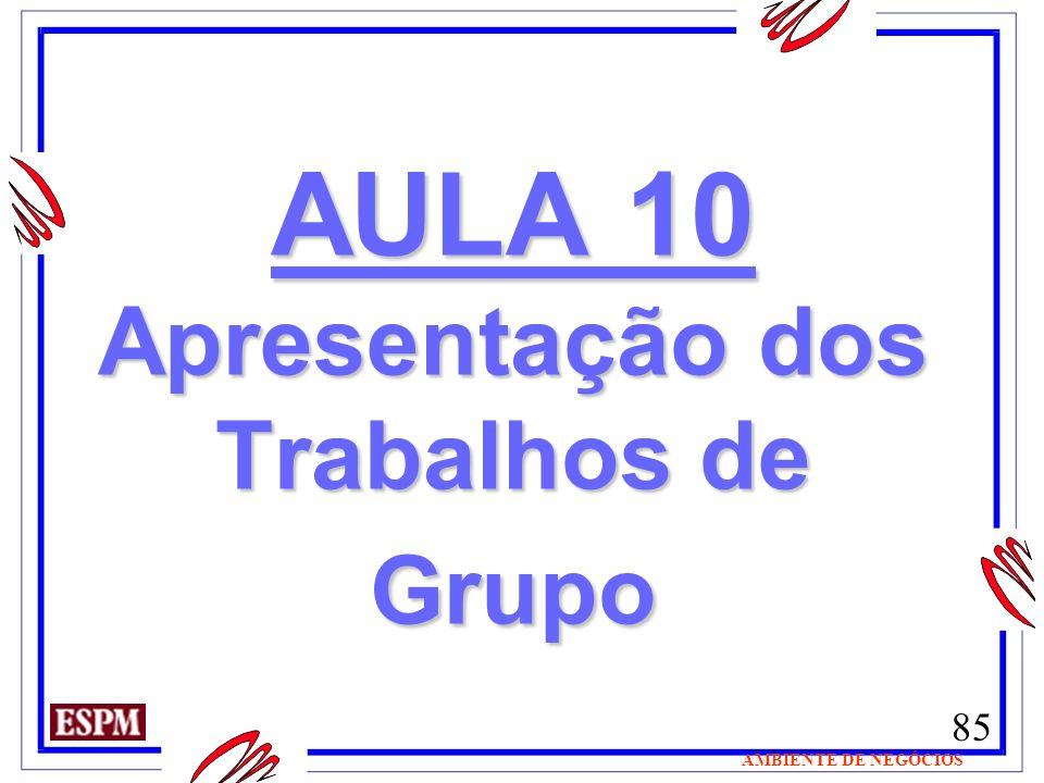 85 AMBIENTE DE NEGÓCIOS AULA 10 Apresentação dos Trabalhos de Grupo AULA 10 Apresentação dos Trabalhos de Grupo
