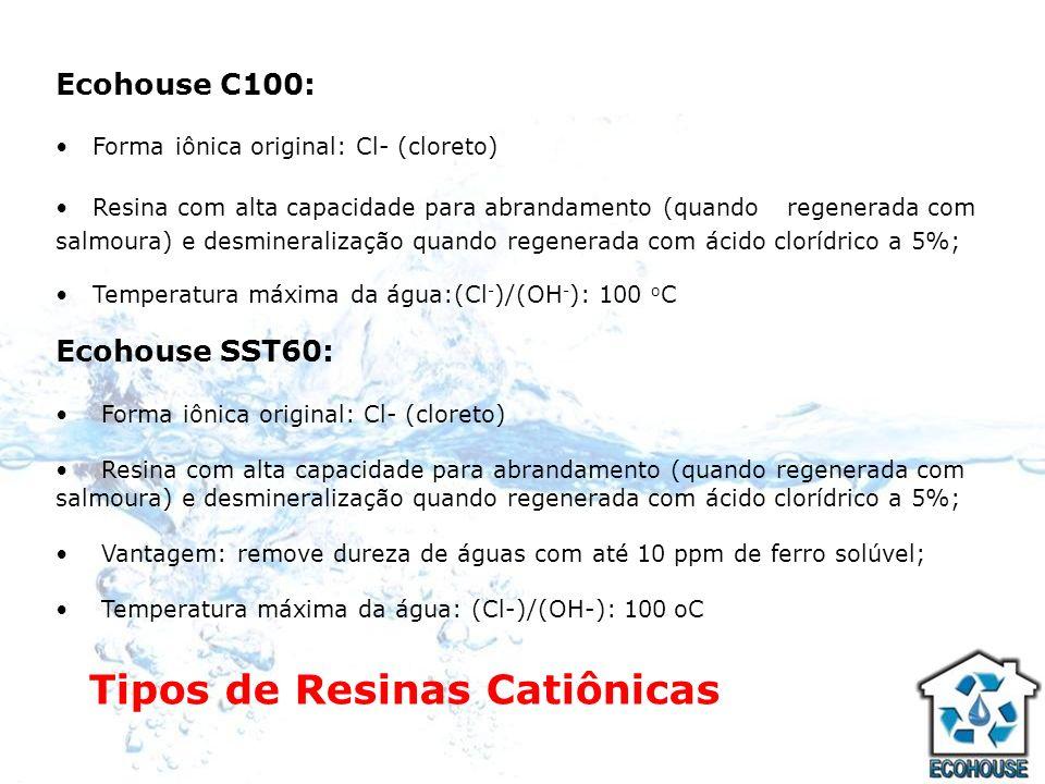 Tipos de Resinas Aniônicas Ecohouse A400: Forma iônica original: Cl- (cloreto) Aplicação: - quando regenerada com salmoura a 10% é empregada para redução de alcalinidade (carbonatos, bicarbonatos e hidróxidos); sulfatos e nitratos.