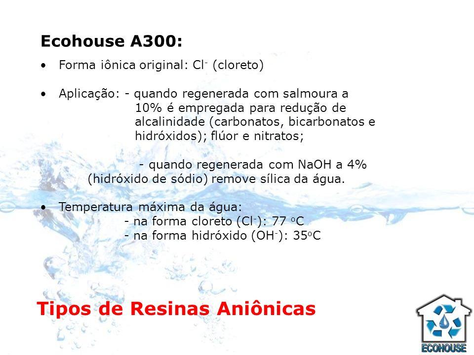 Ecohouse A300: Forma iônica original: Cl - (cloreto) Aplicação: - quando regenerada com salmoura a 10% é empregada para redução de alcalinidade (carbo
