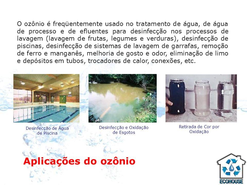 Aplicações do ozônio O ozônio é freqüentemente usado no tratamento de água, de água de processo e de efluentes para desinfecção nos processos de lavag