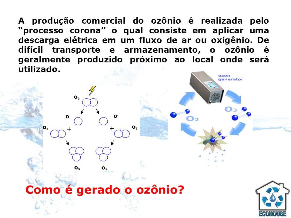 Como é gerado o ozônio? A produção comercial do ozônio é realizada pelo processo corona o qual consiste em aplicar uma descarga elétrica em um fluxo d