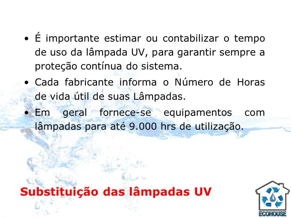 Substituição das lâmpadas UV É importante estimar ou contabilizar o tempo de uso da lâmpada UV, para garantir sempre a proteção contínua do sistema. C