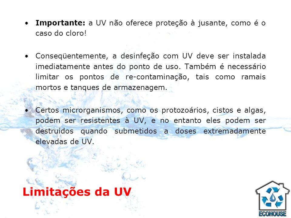 Limitações da UV Importante: a UV não oferece proteção à jusante, como é o caso do cloro! Conseqüentemente, a desinfeção com UV deve ser instalada ime
