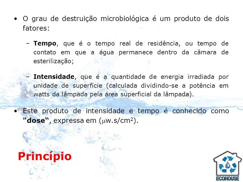 O grau de destruição microbiológica é um produto de dois fatores: –Tempo, que é o tempo real de residência, ou tempo de contato em que a água permanec