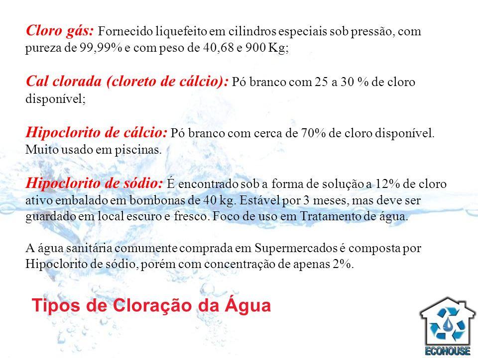 Tipos de Cloração da Água Cloro gás: Fornecido liquefeito em cilindros especiais sob pressão, com pureza de 99,99% e com peso de 40,68 e 900 Kg; Cal c