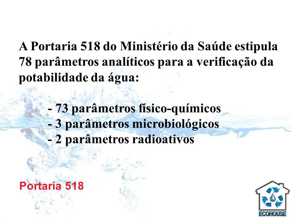 Portaria 518 A Portaria 518 do Ministério da Saúde estipula 78 parâmetros analíticos para a verificação da potabilidade da água: - 73 parâmetros físic