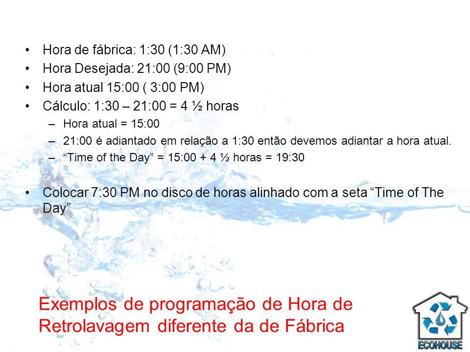 Exemplos de programação de Hora de Retrolavagem diferente da de Fábrica Hora de fábrica: 1:30 (1:30 AM) Hora Desejada: 21:00 (9:00 PM) Hora atual 15:0